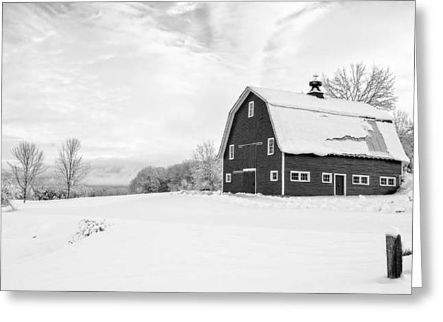 New England Farm Winter Black And White Greeting Card by Edward Fielding