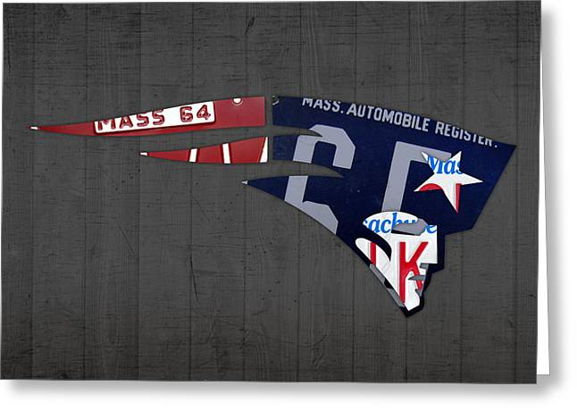 New England Patriots Football Team Retro Logo Massachusetts License Plate Art Greeting Card