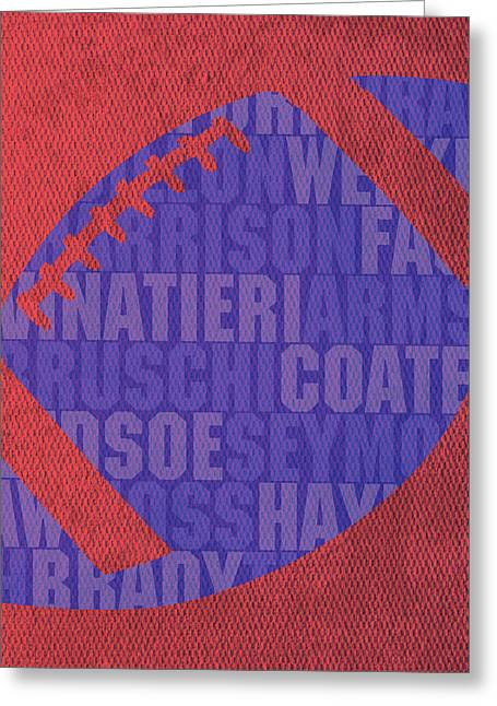 New England Patriots Football Team Typography Famous Player Names On Canvas Greeting Card by Design Turnpike