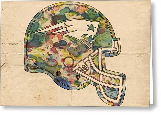 New England Patriots Helmet Art Greeting Card by Florian Rodarte