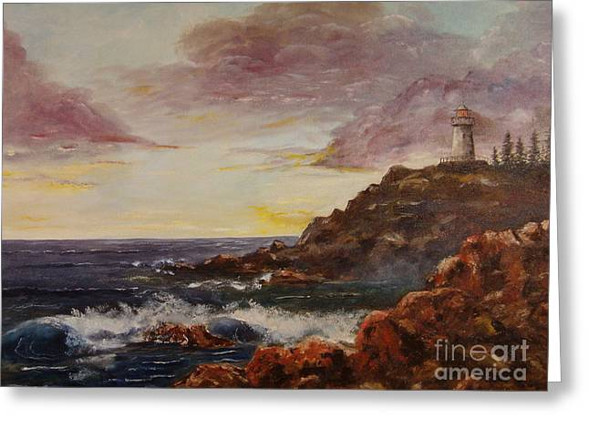 Greeting Card featuring the painting New England Storm by Lee Piper