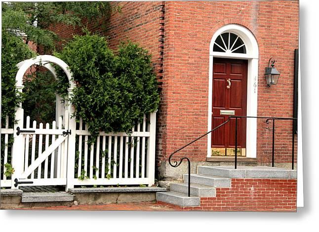 New England Street Scene Greeting Card