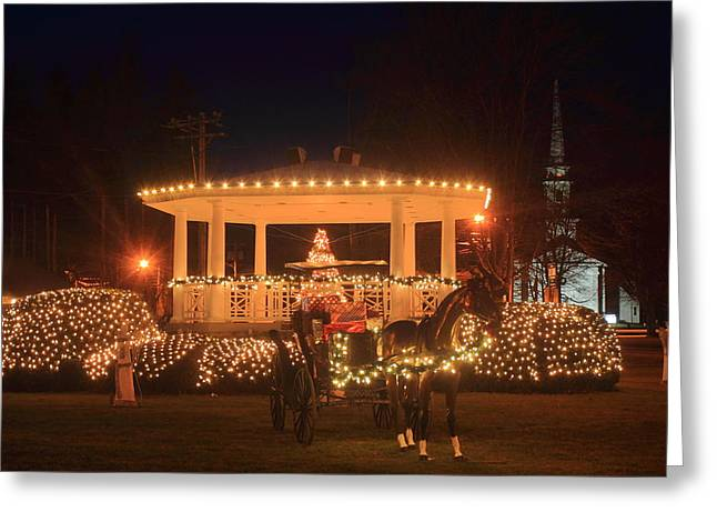New England Town Common Holiday Scene Greeting Card by John Burk