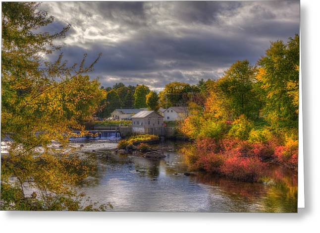 New England Town In Autumn Greeting Card
