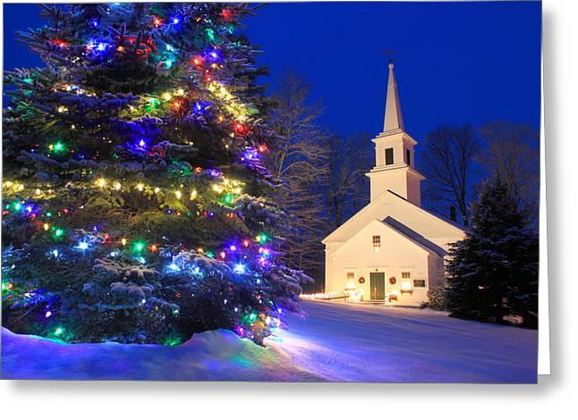 New England Village Christmas Scene Marlow Nh Greeting Card by John Burk