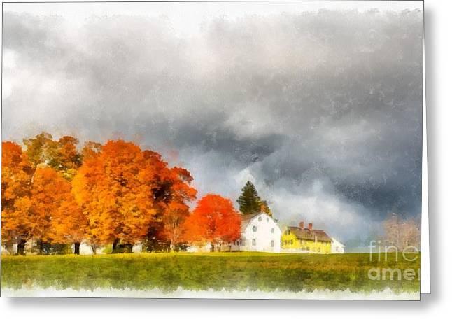 New England Village Greeting Card by Edward Fielding