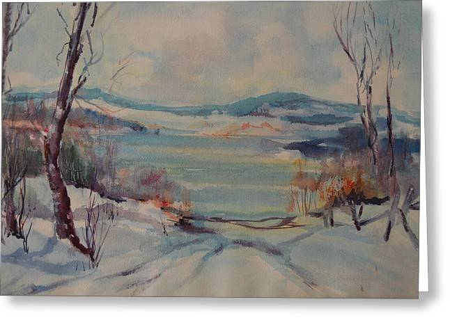 New England Winter Greeting Card by Dorothy Campbell Therrien