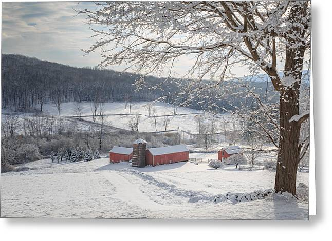 New England Winter Farms Morning Square Greeting Card by Bill Wakeley