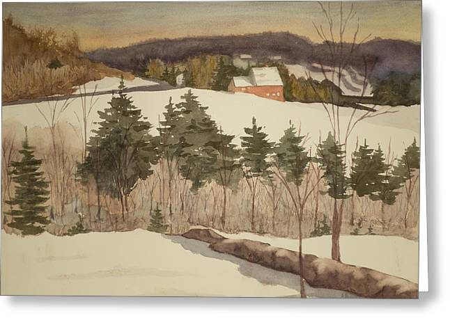 New England Winter Greeting Card by Peggy Poppe