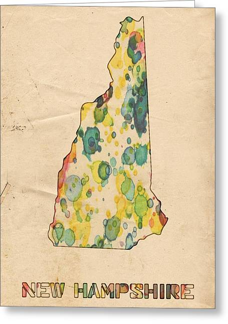 New Hampshire Map Vintage Watercolor Greeting Card