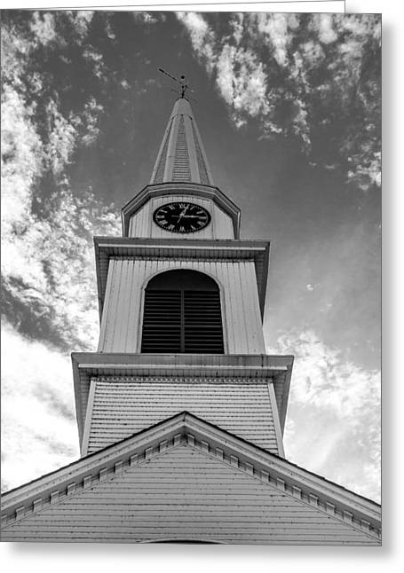 New Hampshire Steeple Detailed View Black And White Greeting Card by Karen Stephenson