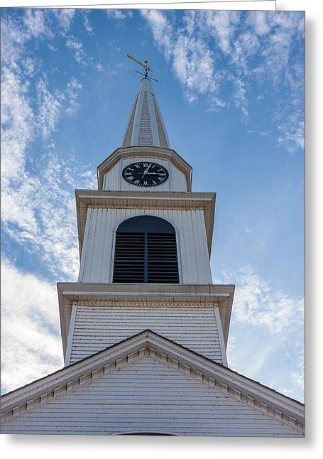New Hampshire Steeple Detailed View Greeting Card by Karen Stephenson