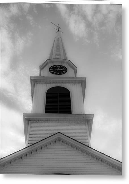 New Hampshire Steeple Dreamy View Black And White Greeting Card by Karen Stephenson