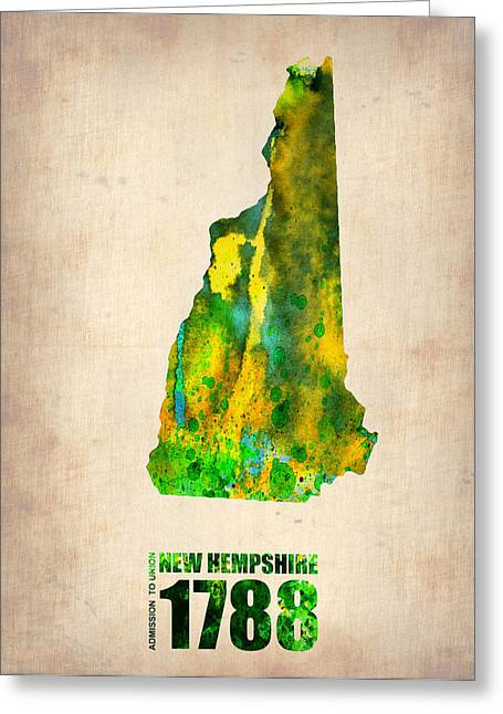 New Hampshire Watercolor Map Greeting Card by Naxart Studio