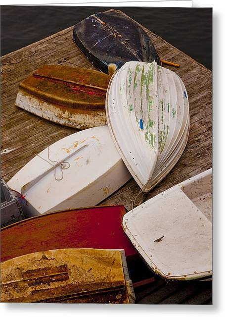New Harbor Boats Greeting Card by Karma Boyer