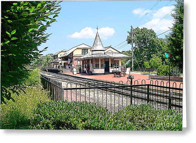New Hope Train Station Greeting Card by Addie Hocynec
