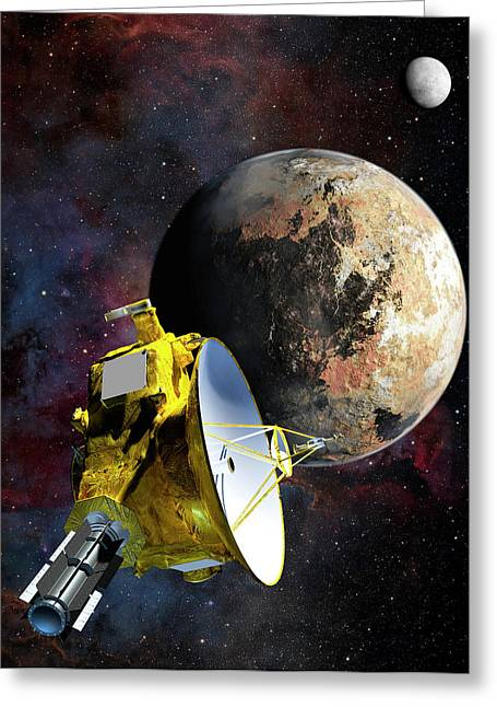 New Horizons At Pluto Greeting Card by Nasa/johns Hopkins University Applied Physics Laboratory/southwest Research Institute