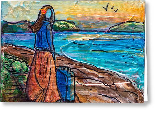 Greeting Card featuring the painting New Horizons by TM Gand