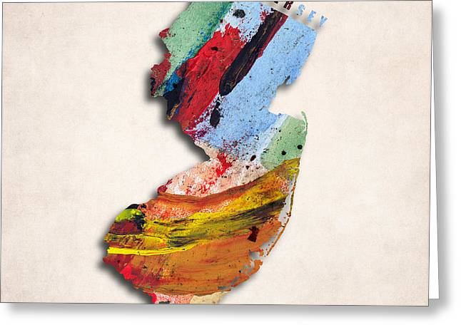 New Jersey Map Art - Painted Map Of New Jersey Greeting Card