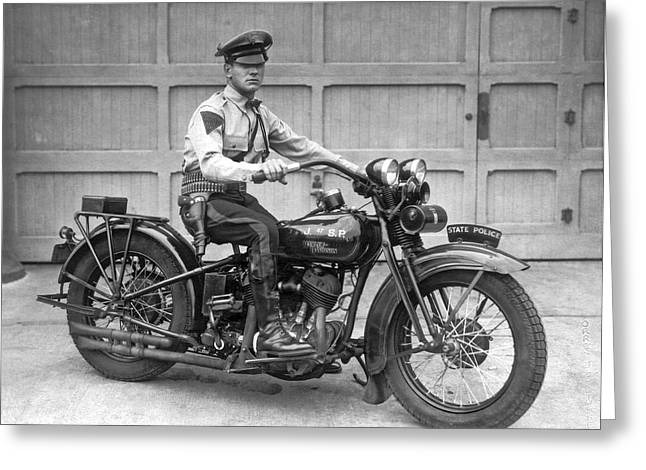 New Jersey Motorcycle Trooper Greeting Card by Underwood Archives
