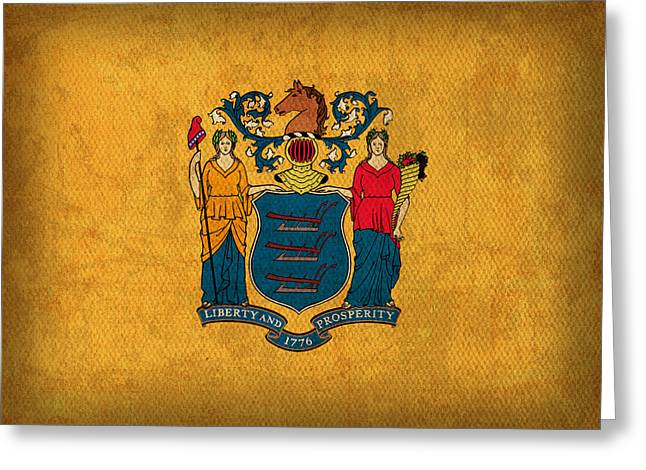 New Jersey State Flag Art On Worn Canvas Greeting Card