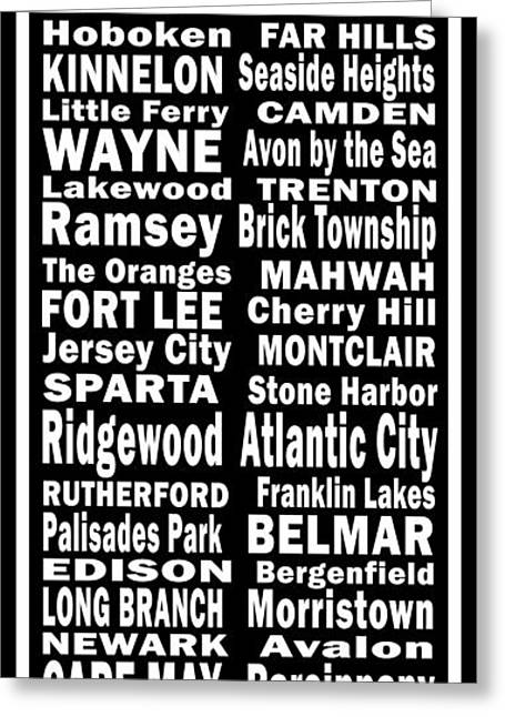 New Jersey Towns Canvas Art.com Greeting Card by Joans Craft World