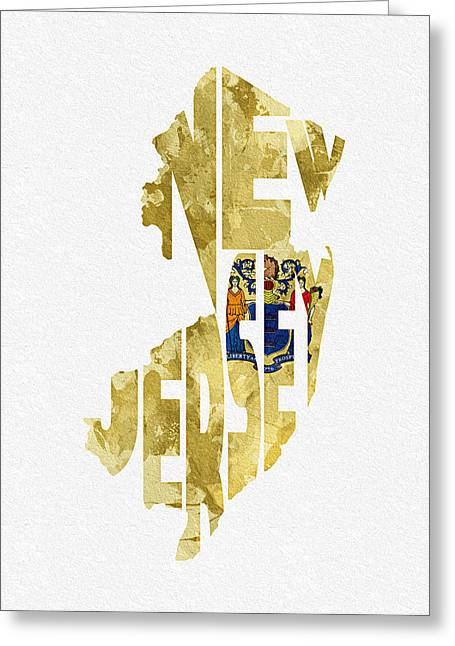 New Jersey Typographic Map Flag Greeting Card by Ayse Deniz
