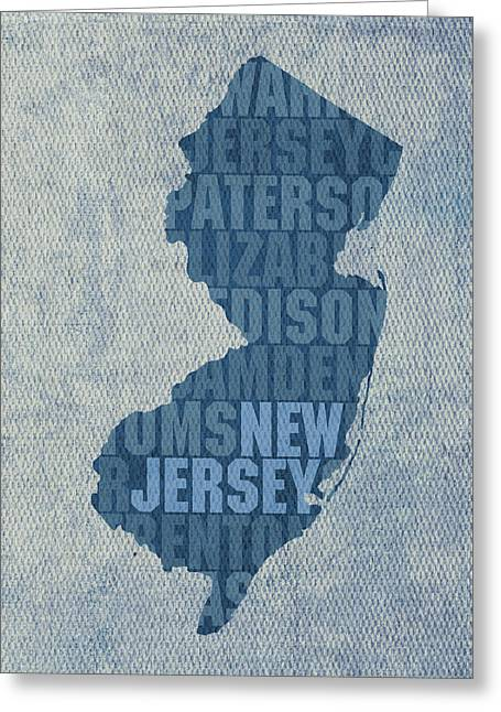 New Jersey Word Art State Map On Canvas Greeting Card