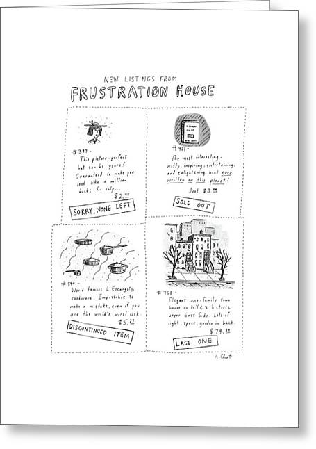 New Listings From Frustration House Greeting Card by Roz Chast