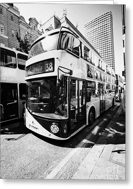 New London Routemaster Bus On Oxford Street In Central London England Uk Greeting Card by Joe Fox