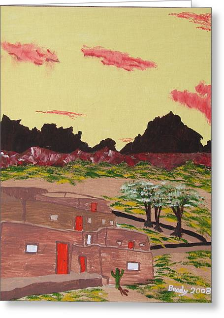 Greeting Card featuring the painting New Mexico Adobe Home by Brady Harness