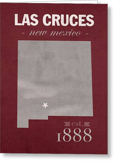 New Mexico State University Las Cruces Aggies College Town State Map Poster Series No 075 Greeting Card