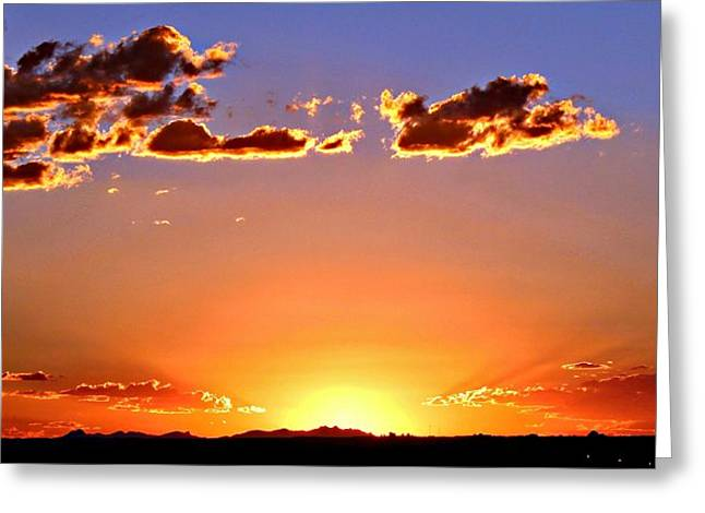 New Mexico Sunset Glow Greeting Card by Barbara Chichester