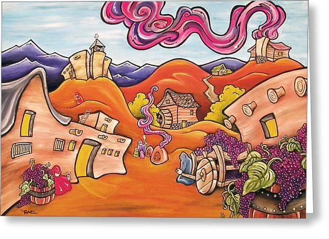 Santa Fe Wine Festival Greeting Card by Robb Rael