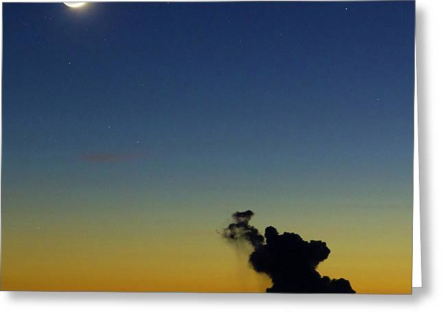 New Moon And Earthshine At Sunset Greeting Card