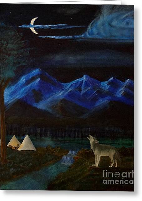 New Moon Howling Greeting Card by Stephen Schaps