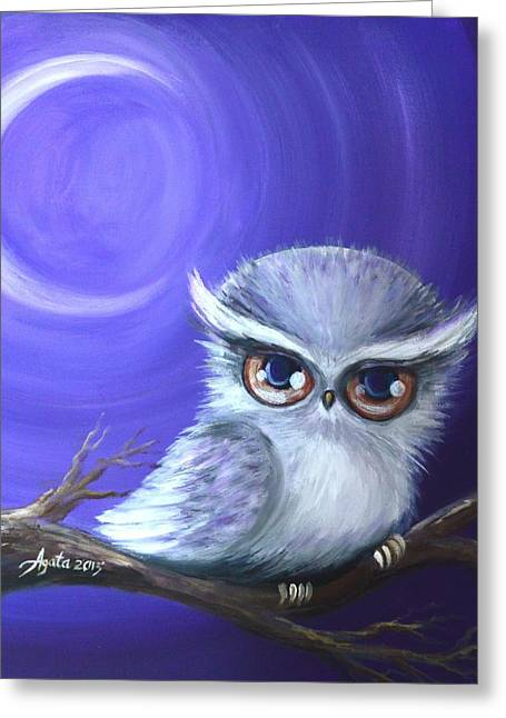 Greeting Card featuring the painting New Moon Owl by Agata Lindquist