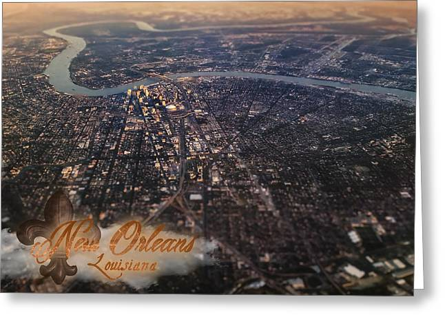 Greeting Card featuring the photograph New Orleans Aerial View by Anthony Citro