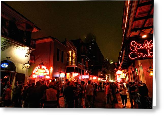 New Orleans - Bourbon Street 001 Greeting Card by Lance Vaughn