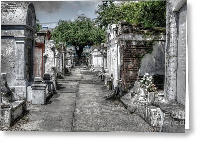 New Orleans Cemetery Greeting Card by Timothy Lowry