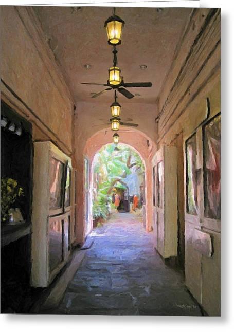 New Orleans Courtyard Glimpse - Secret Garden Greeting Card