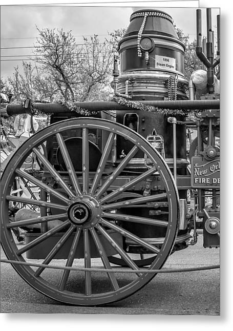 New Orleans Fire Department 1896 Bw Greeting Card by Steve Harrington