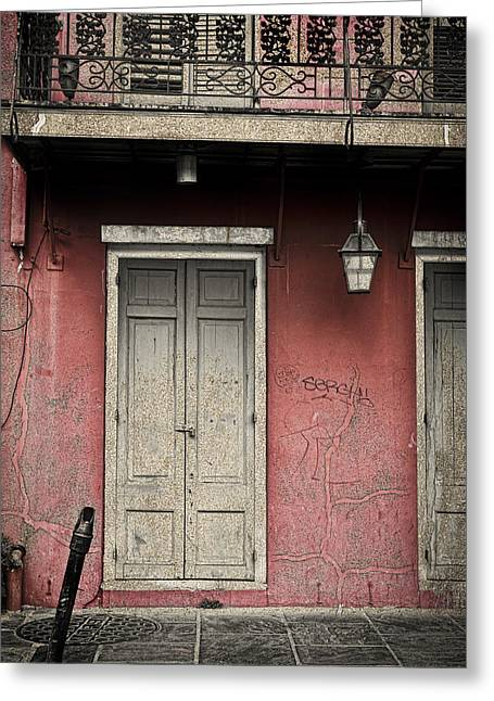 New Orleans French Quarter Balcony And Doorway Greeting Card by Ray Devlin