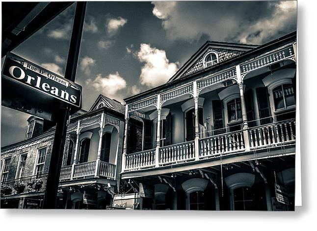 New Orleans In Black And White Greeting Card by Catherine Arnas