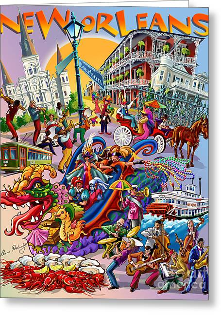 New Orleans In Color Greeting Card by Maria Rabinky