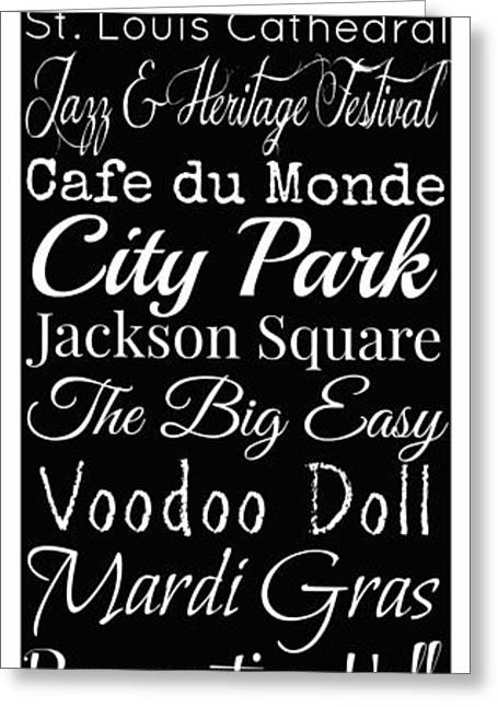 New Orleans Louisiana Typography Greeting Card by Susan Bordelon