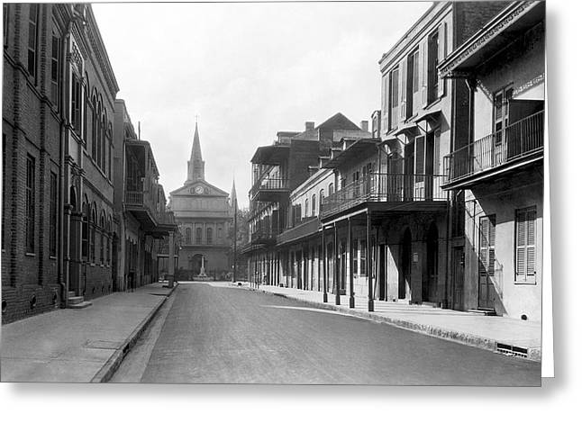 New Orleans Old French Quarter Greeting Card by Underwood Archives