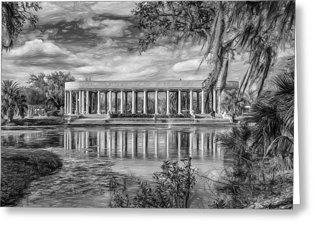 New Orleans Peristyle - Paint Bw Greeting Card