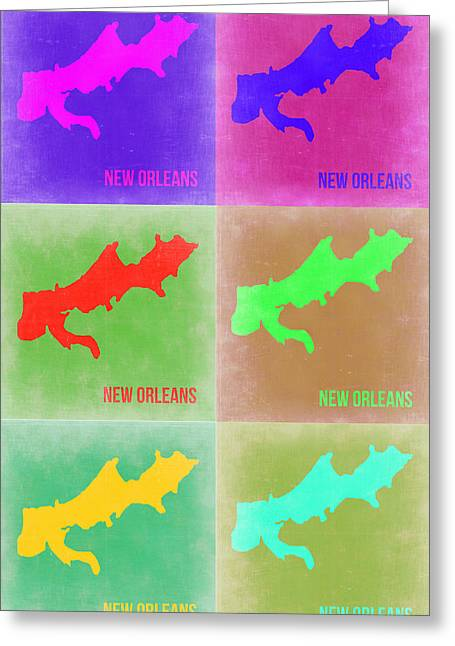 New Orleans Pop Art Map 3 Greeting Card