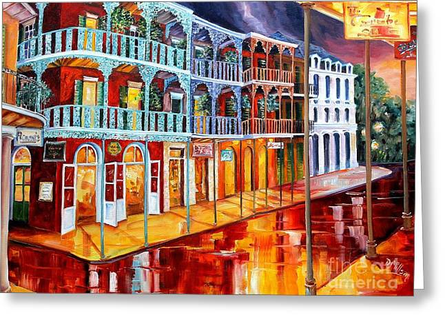 New Orleans Reflections In Red Greeting Card by Diane Millsap
